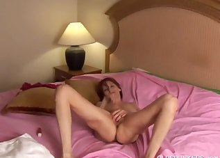 Redhead lady is playing with her little crack