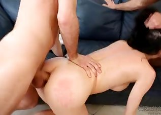 Hardcore double penetration with a hot MILF