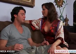 Stunning busty mom and a lucky young man