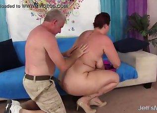 Busty lady gets fucked by a fat wiener